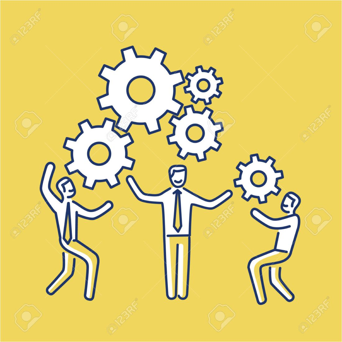 Vector teamwork skills icon of businessmans with gears bulding e